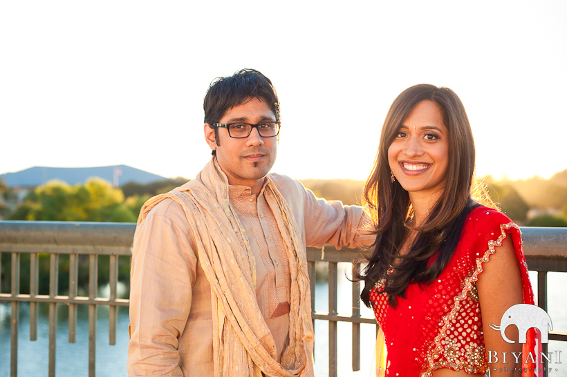 South Congress Bridge Austin Indian Engagement Photographer