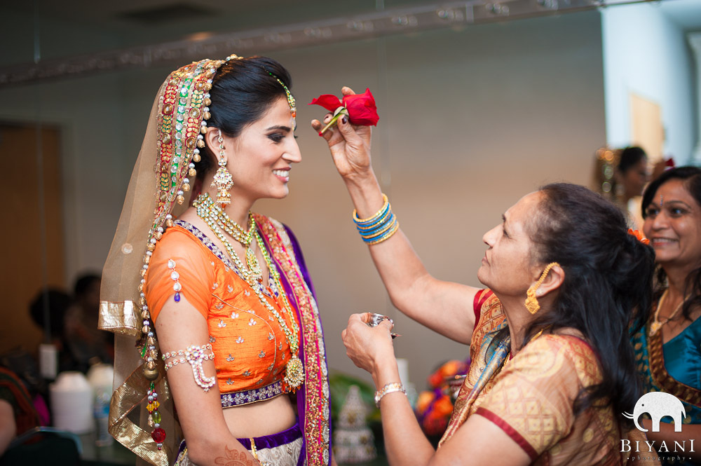 Bride Getting A Teeka On Her Forehead