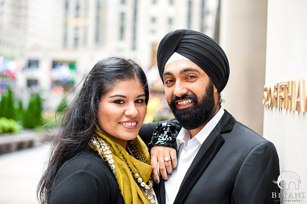 Engaged Indian Couple on 5th Avenue - New York