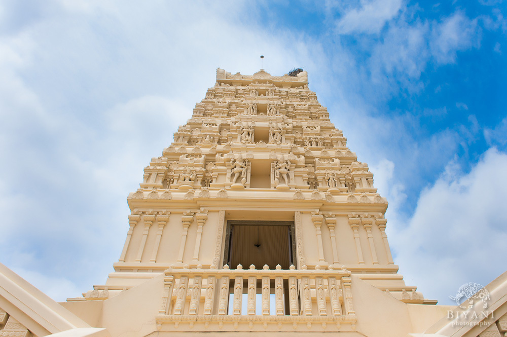 Wide Angle shot of Hindu Temple of Florida in Tampa Florida on a sunny day during an Indian Engagement Shoot