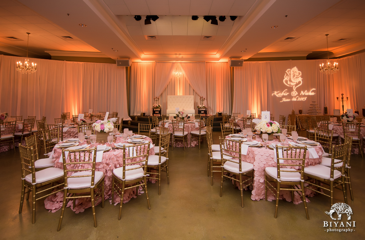 Blush gold romantic indian wedding reception oaks for Wedding event decorators