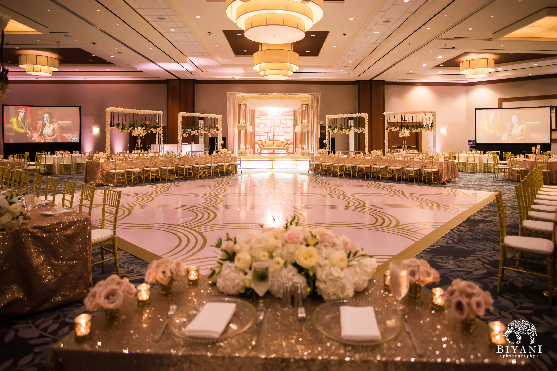 Reception hall for fusion Indian American wedding