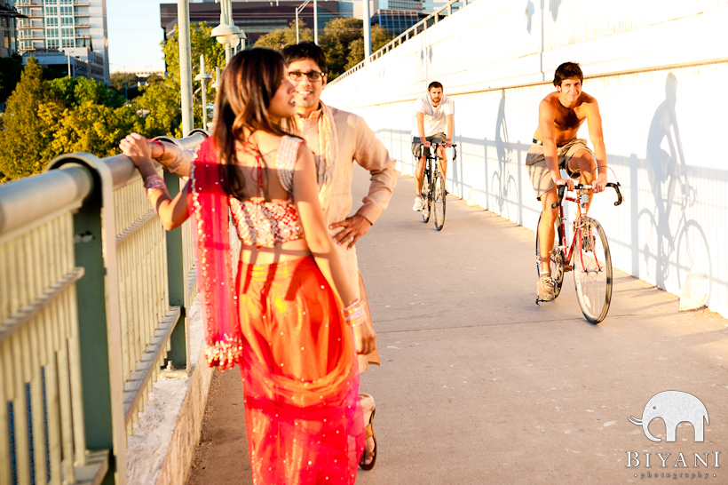 South Congress Bridge Austin Indian Engagement Photographer