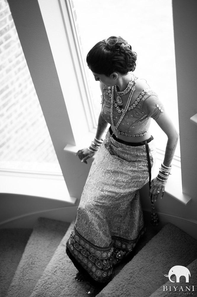 Bhakta bride in the stairwell