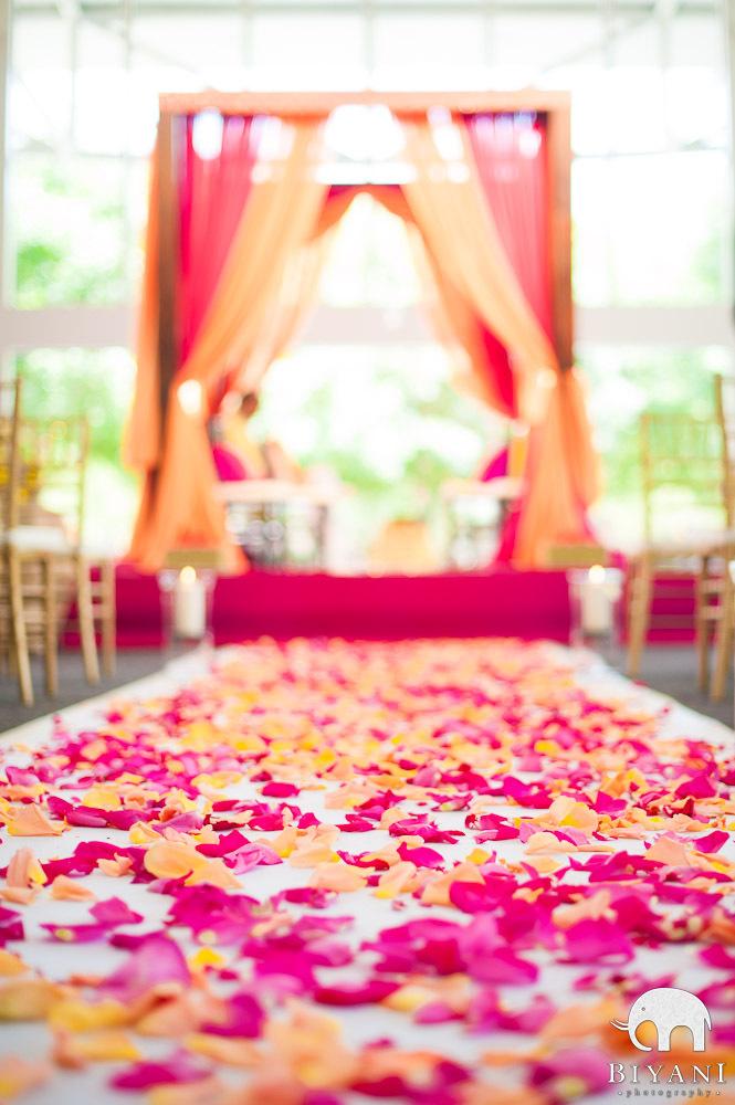 Mandap and decor - rose petals and havan at Dallas Atrium