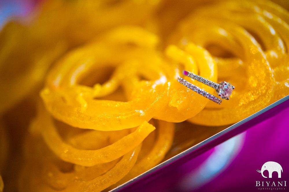 Unique Artistic Wedding Ring shot on jalebis