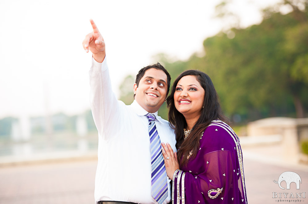Indian Couple pointing to sky