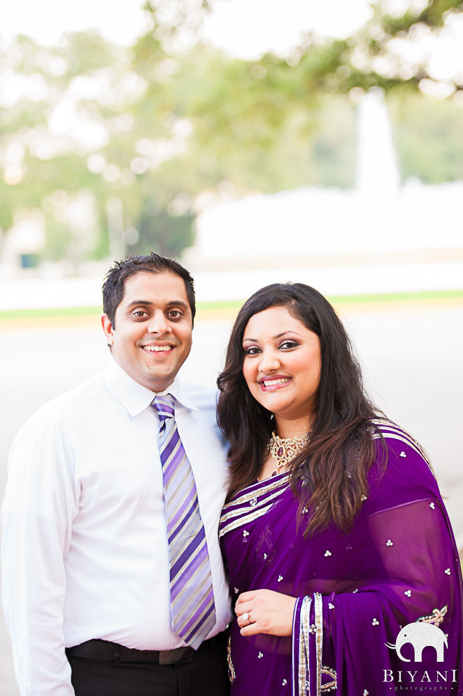 Engaged Indian Couple smiling