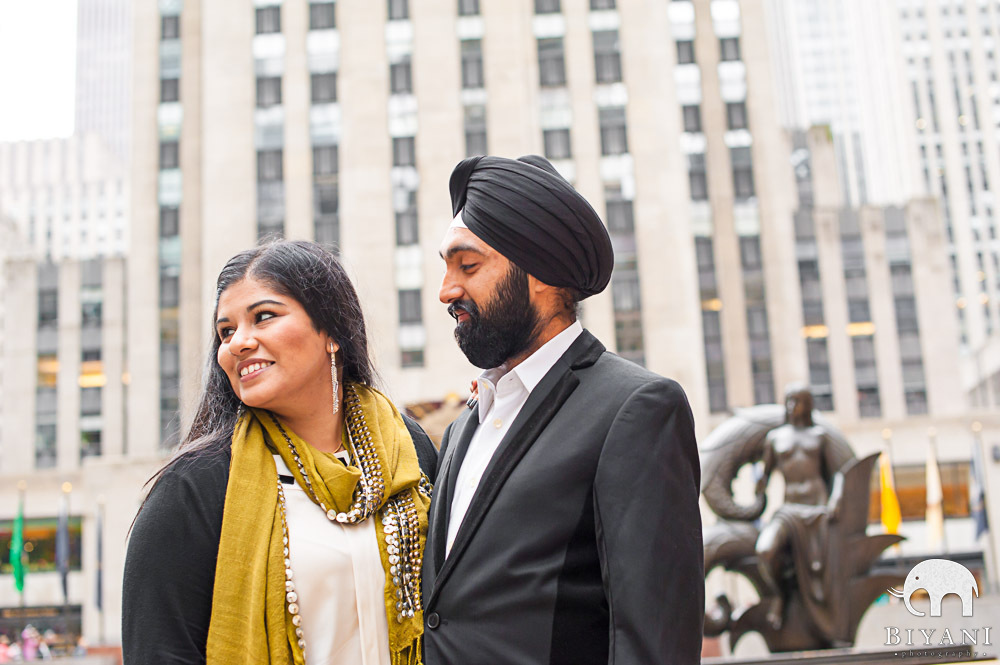 Indian Engagement outside Rockefeller Center, New York
