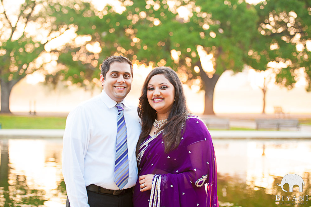 Indian Engagement Couple at Hermann Park