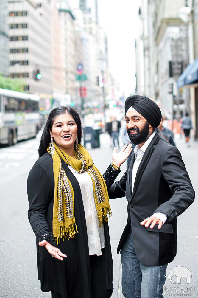 Dancing? Gliding? Candid Indian Engaged Couple photo on New York streets