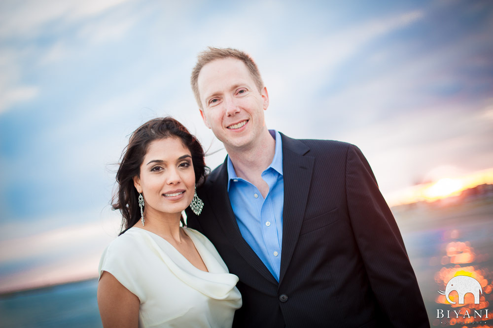 Engaged mixed Indian American Couple