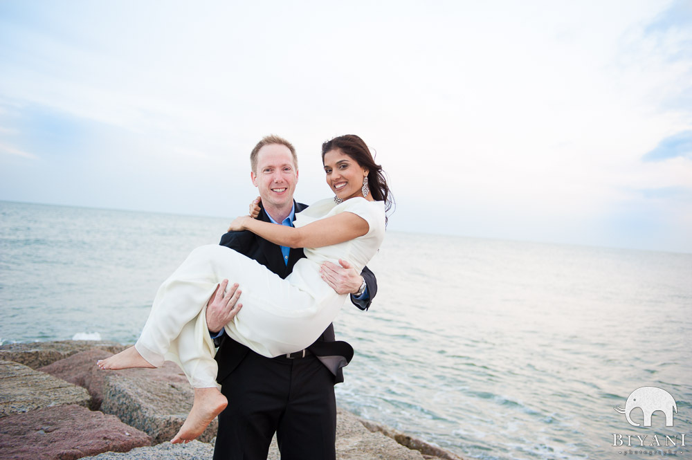 American Fiance picking up Indian Fiance during Indian Engagement