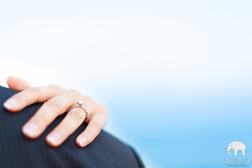 Indian Engagement ring on finace's shoulder