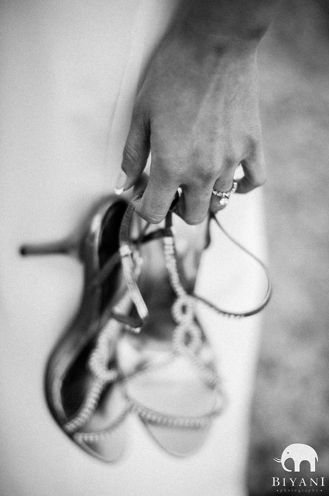 Indian Engagement Ring and bride holding her shoes