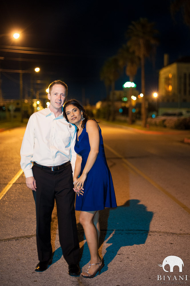 Indian Engagement Photography at Twilight in Western clothes - Galveston, Texas