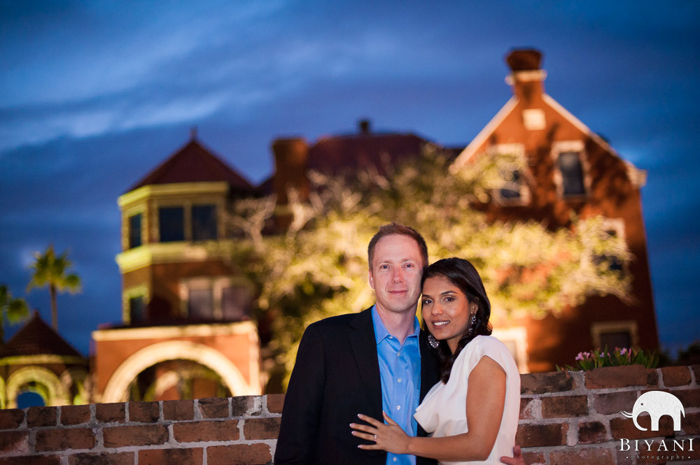 Indian Engagement Couple outside Moody Mansion - Galveston, Texas