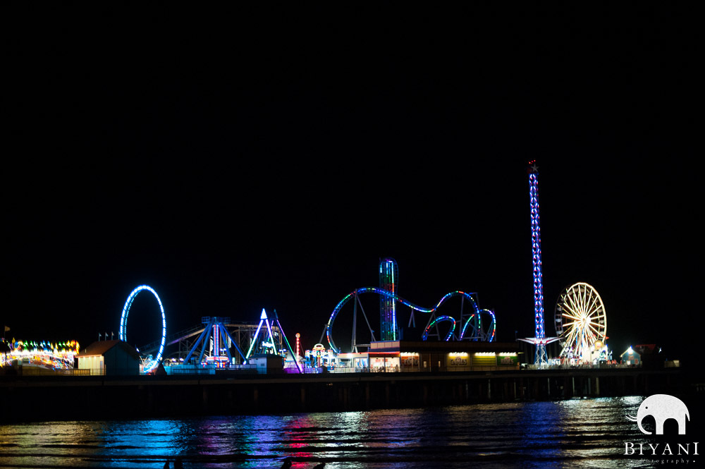 Pleasure Pier shot at Night - Galveston, Texas