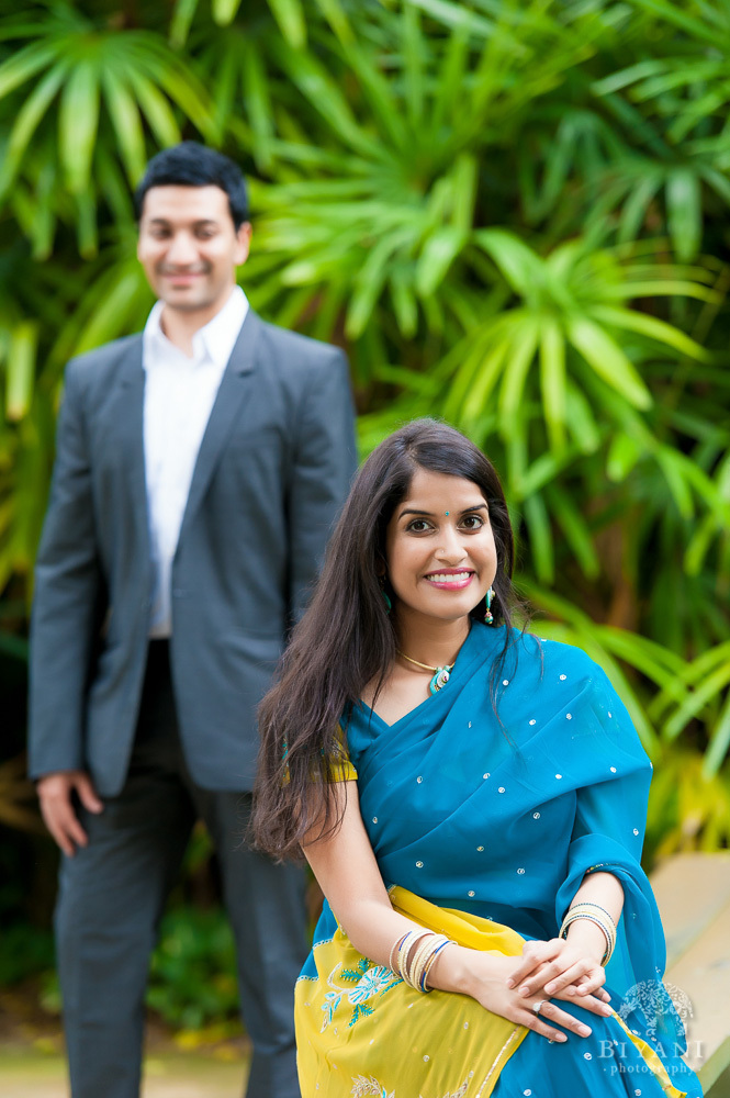 Indian bride to be posing for Indian Engagement Photography at Sunken Gardens in St. Petersburg Florida