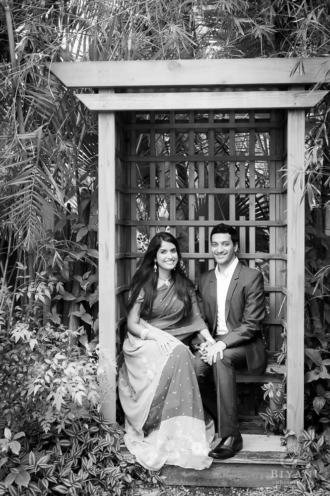 Black and White photo of Florida Engagement Photography at Japanese Pagoda, Sunken Gardens in St. Petersburg Florida