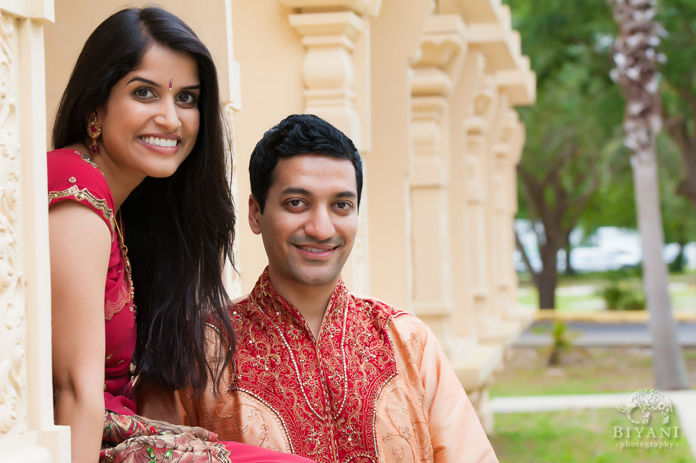 Indian Engagement photos by the pillars at the Hindu Temple of Florida in Tampa, Florida