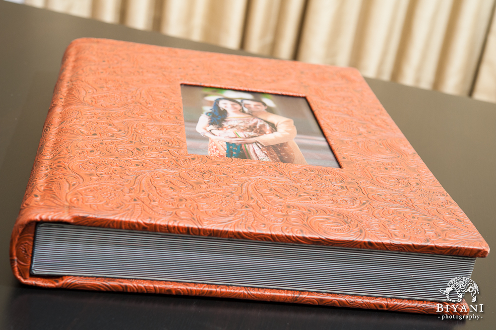 Leather Bound Indian Wedding Album with Cameo Photo