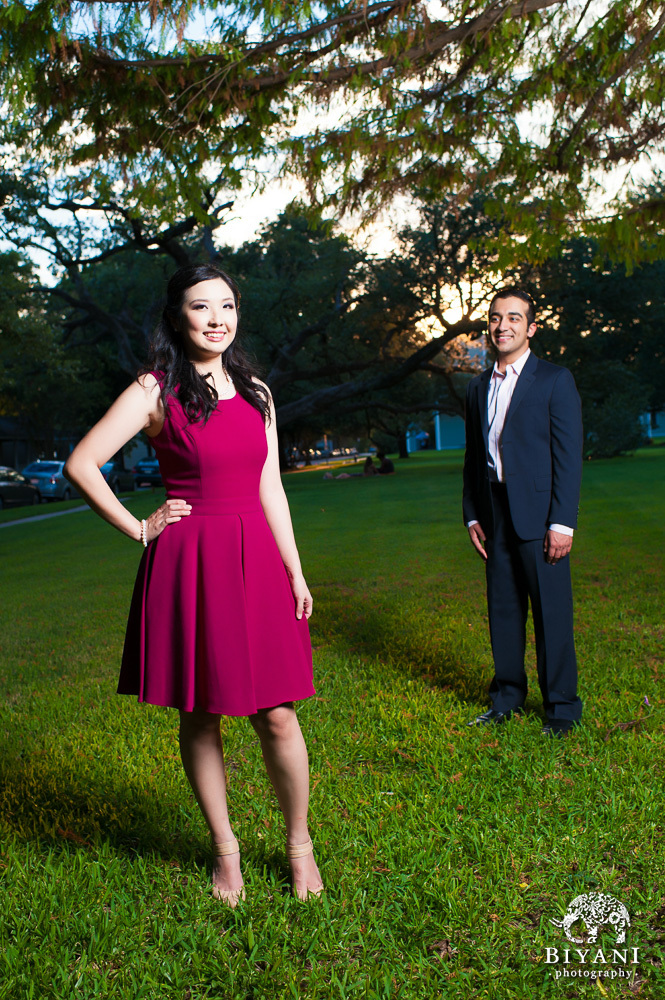 couple posing at menil collection houston