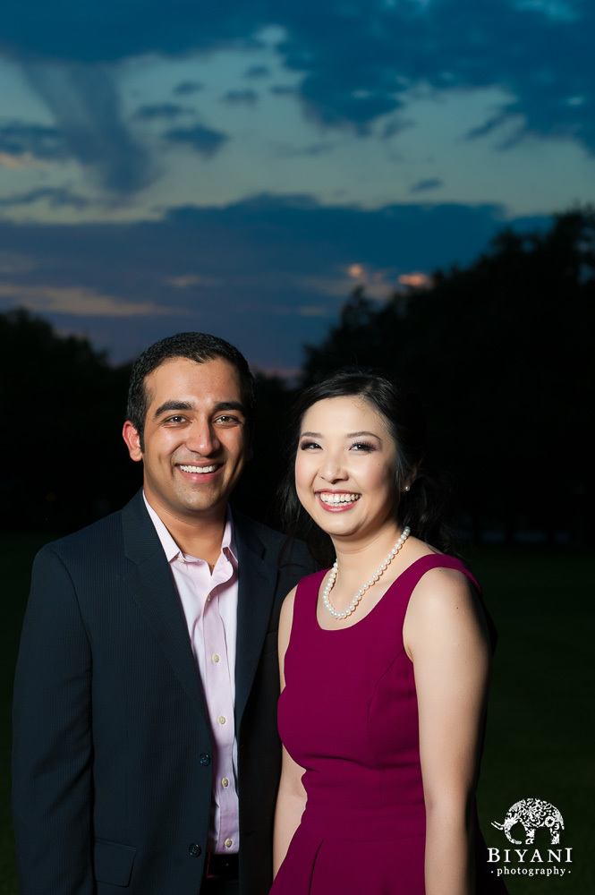 Couple smiling at dusk outside the Menil Collection in Houston