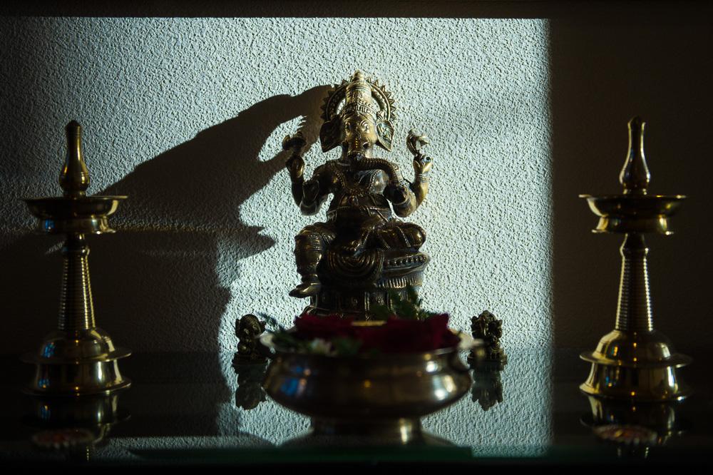 Ganesha statue during mehndi ceremony puja