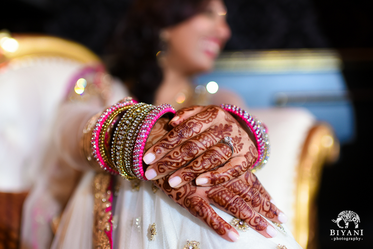Bride's Engagement Ring and mehendi henna at sangeet
