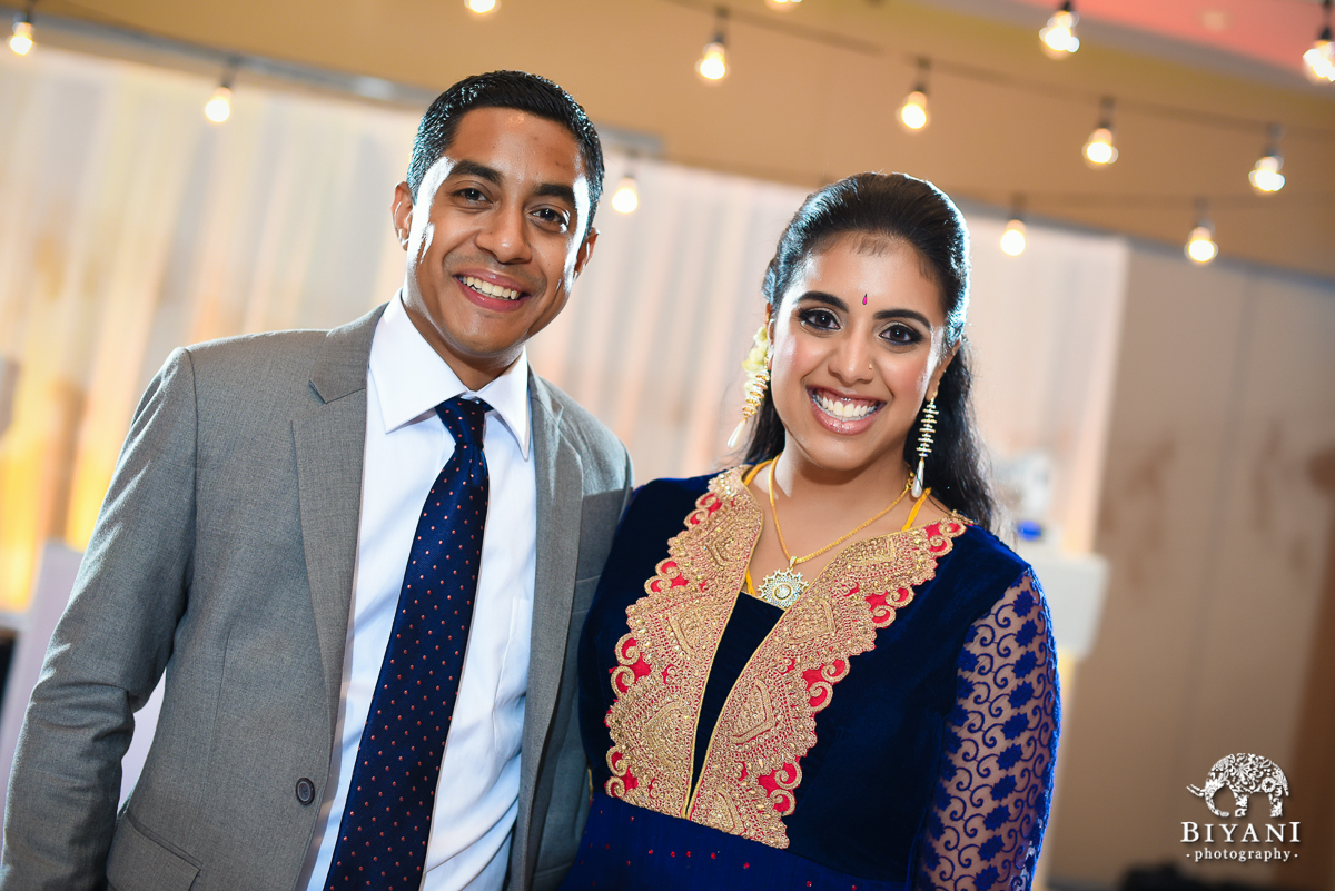 Smiling Bride and Groom during reception at stafford center houston