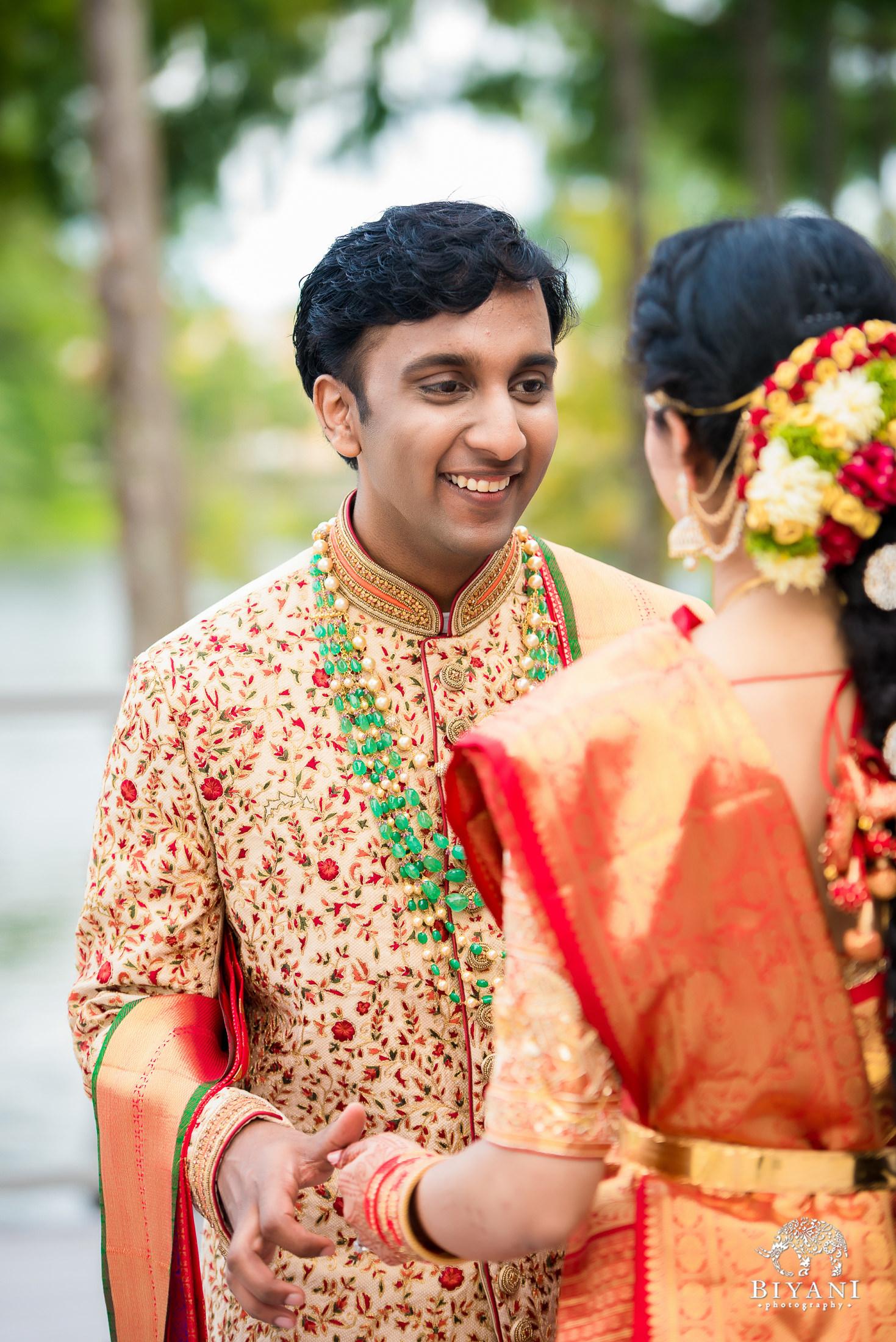 Telugu bride looks at his bride