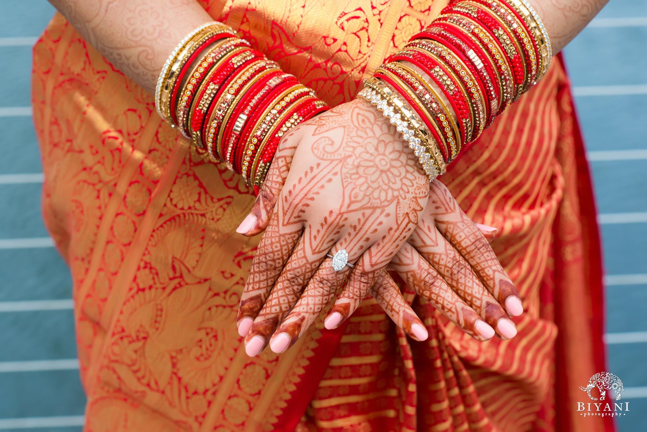 Telugu bride with mehndi