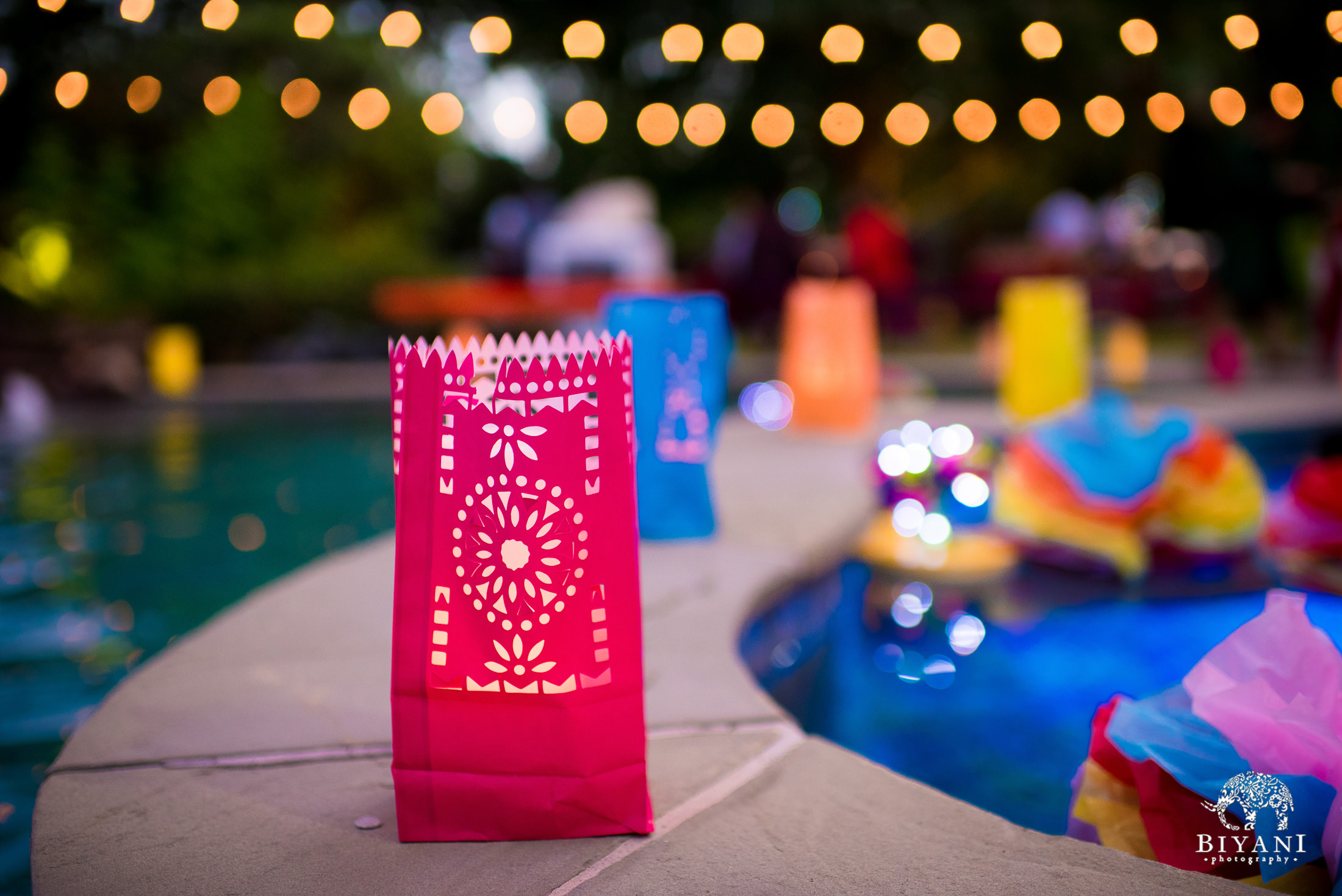 poolside decor for backyard mehndi