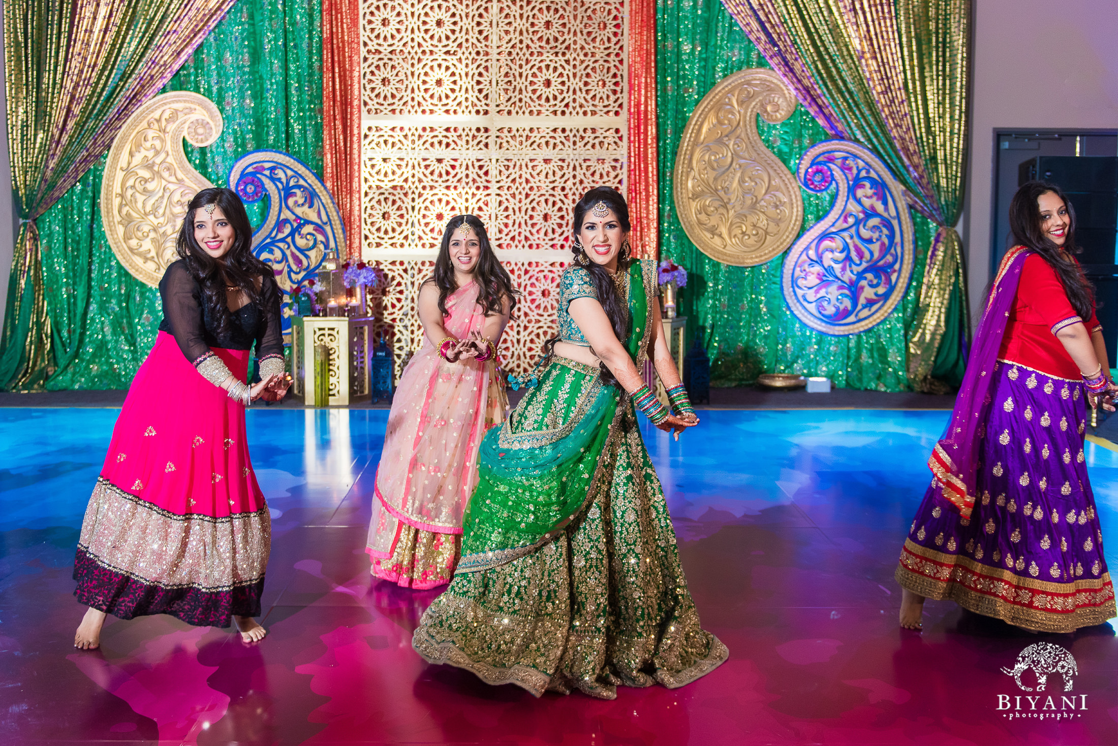 Punjabi bride and bridesmaids