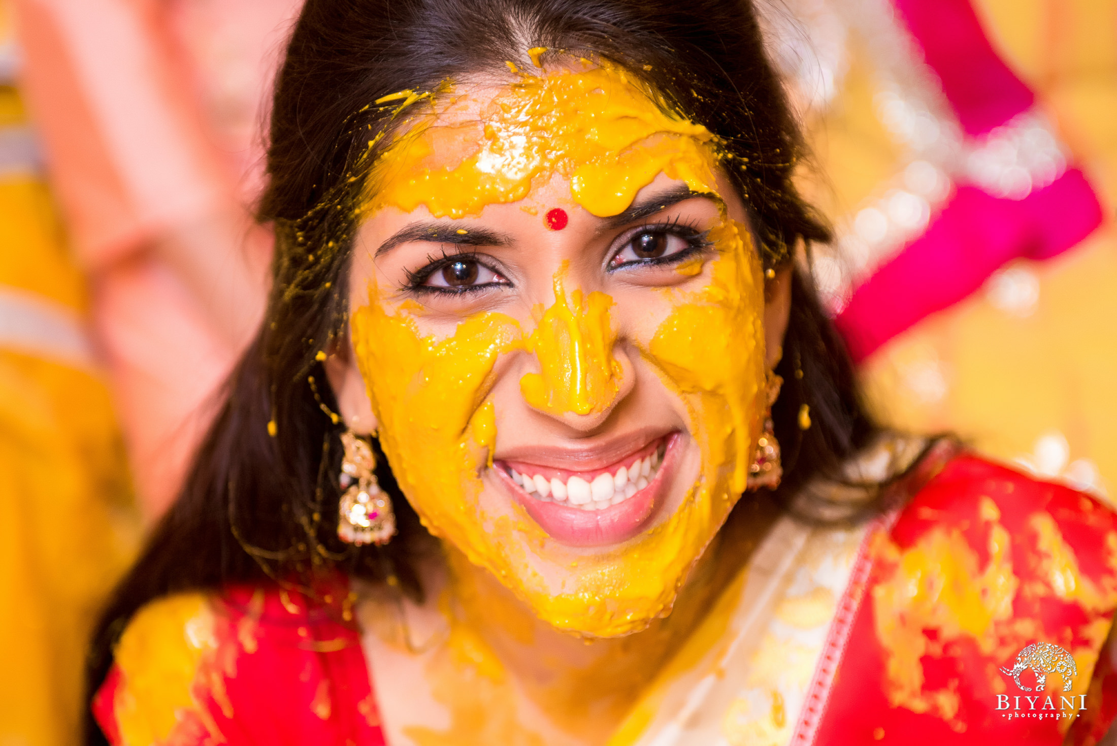 Sikh Wedding Haldi ceremony bride
