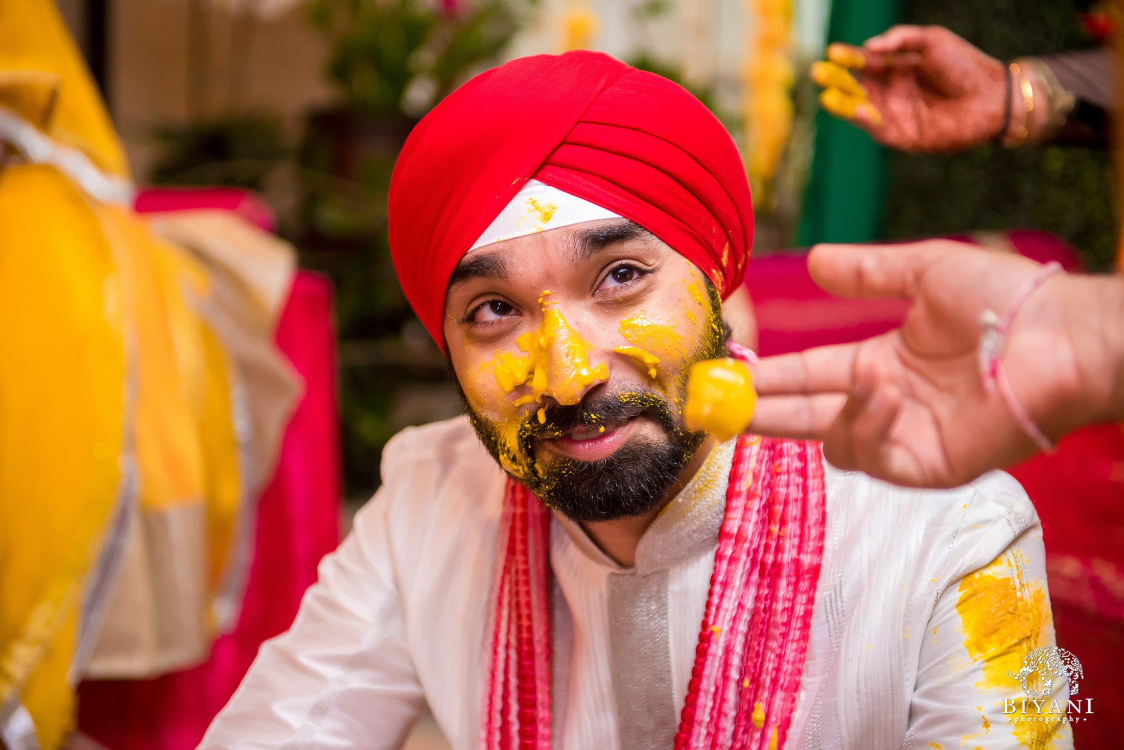 Sikh Wedding Haldi ceremony groom