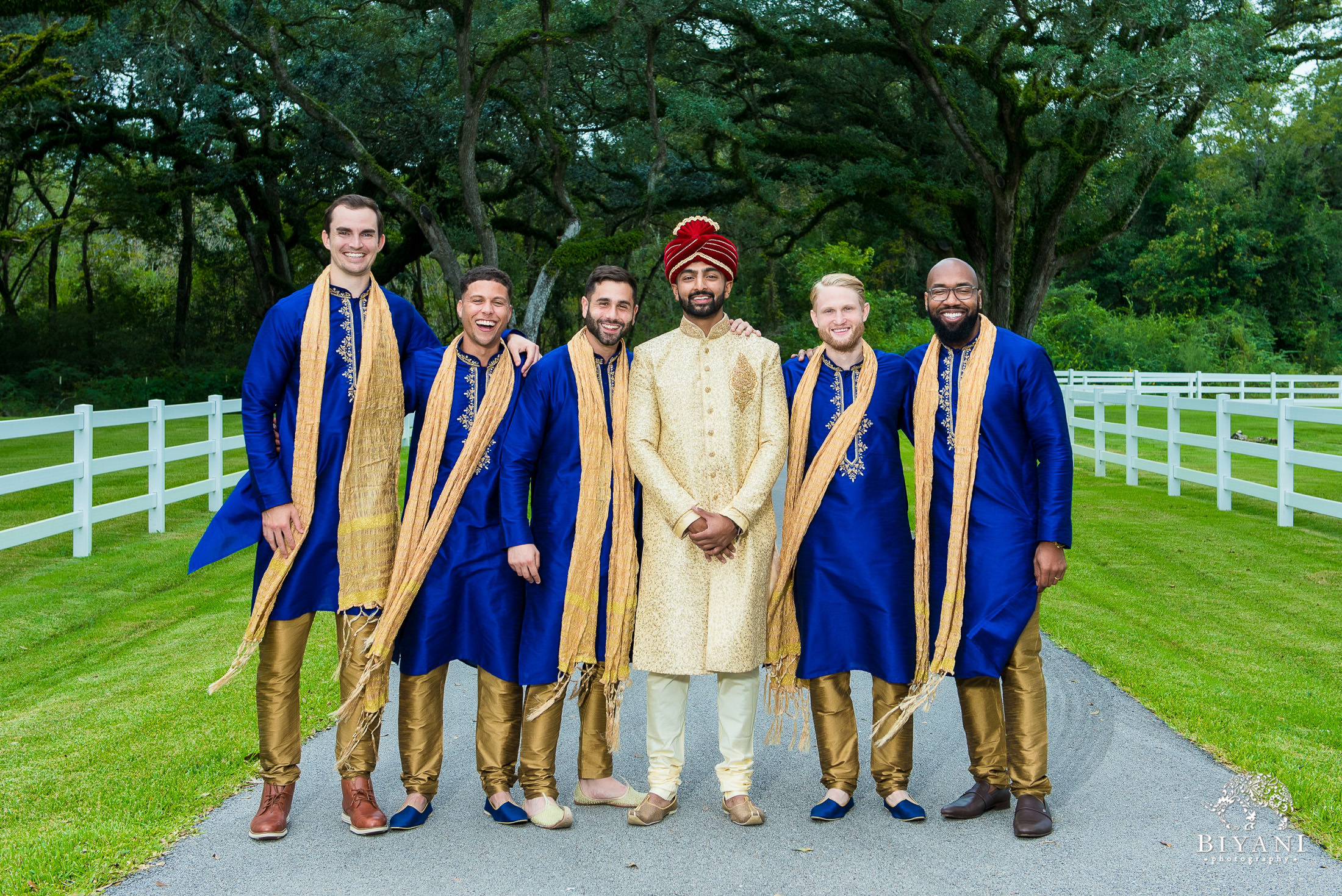 Outdoor Telugu Wedding Ceremony Groom and Groomsmen