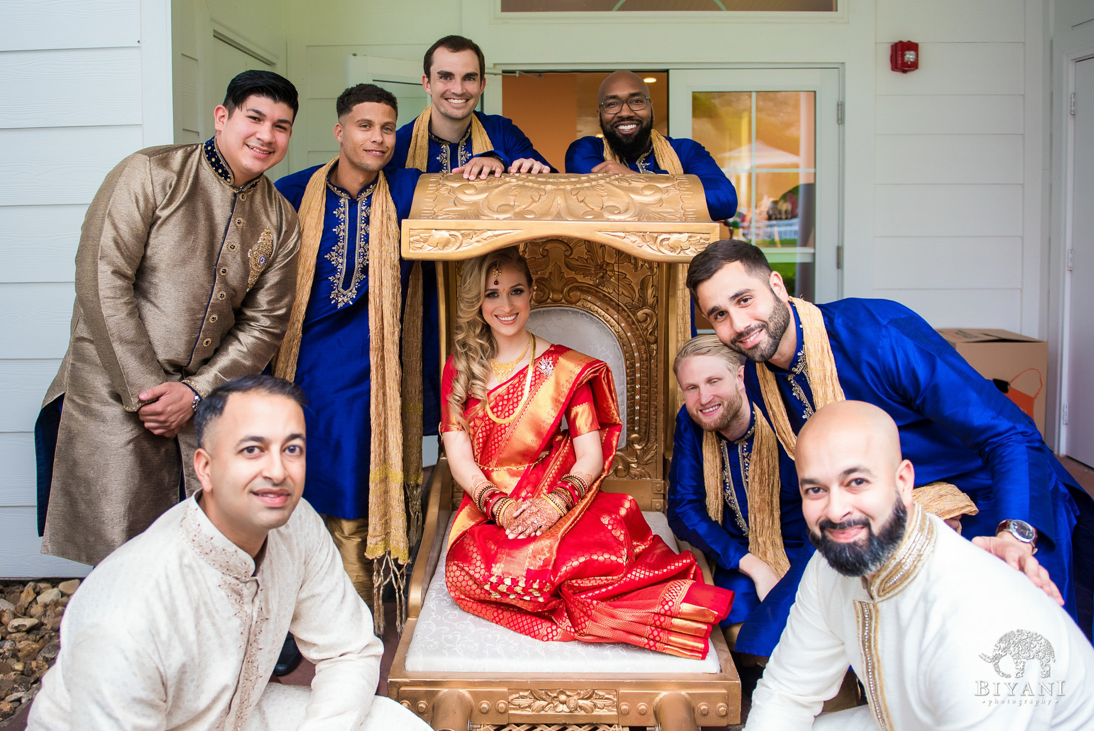 Outdoor Telugu Wedding Ceremony Bride and Groomsmen