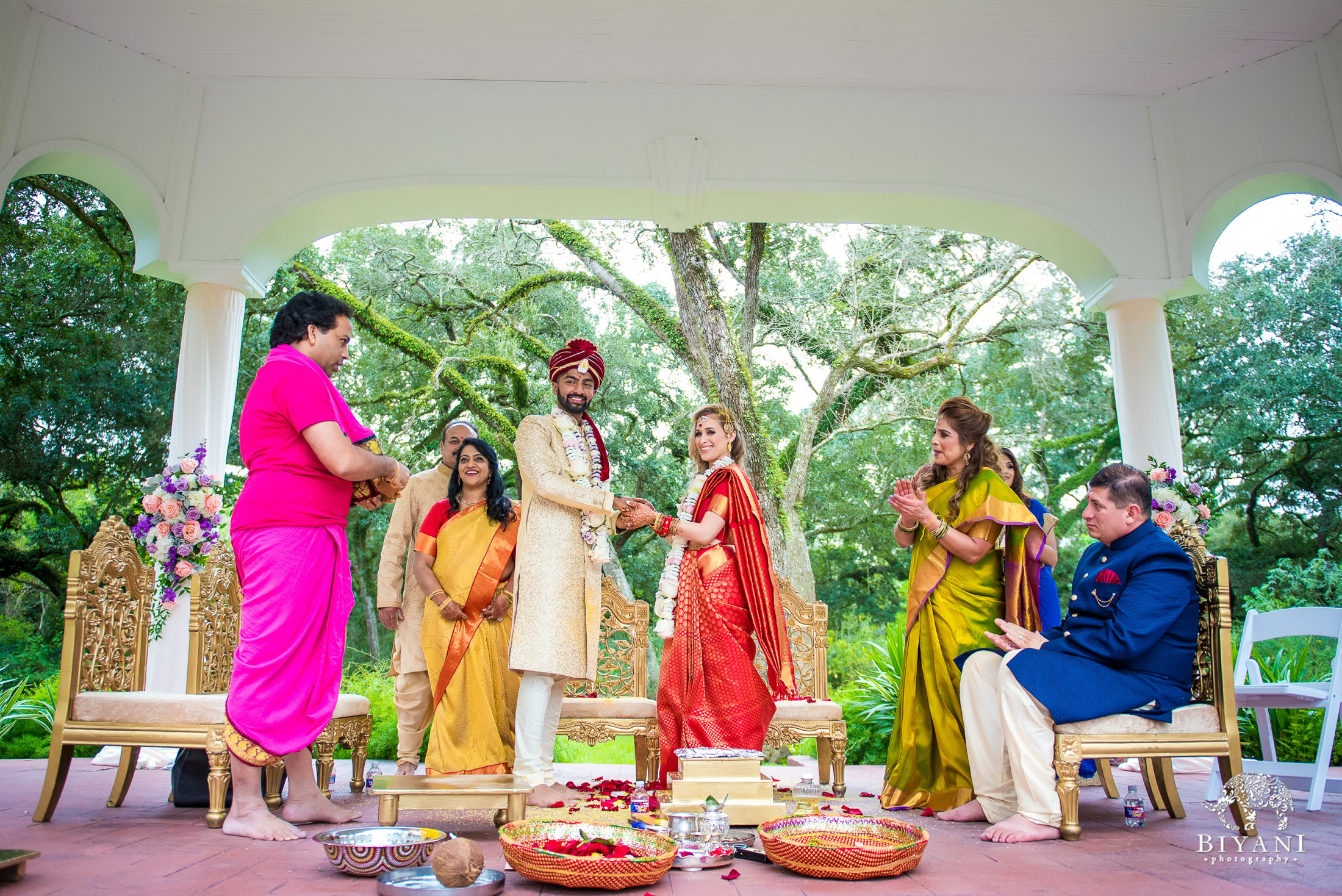 Outdoor Telugu Wedding Ceremony Bride and Groom