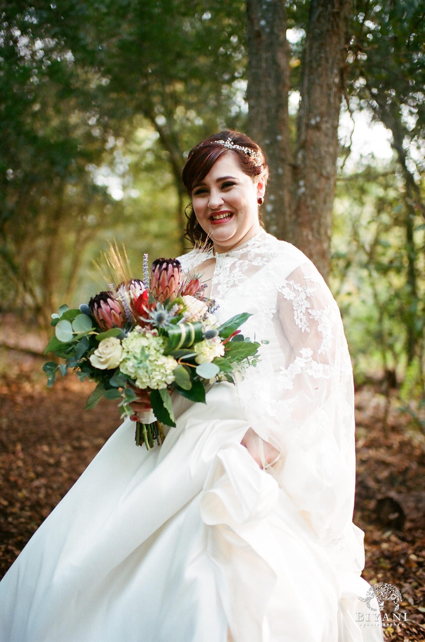 Bride getting ready to walk down aisle