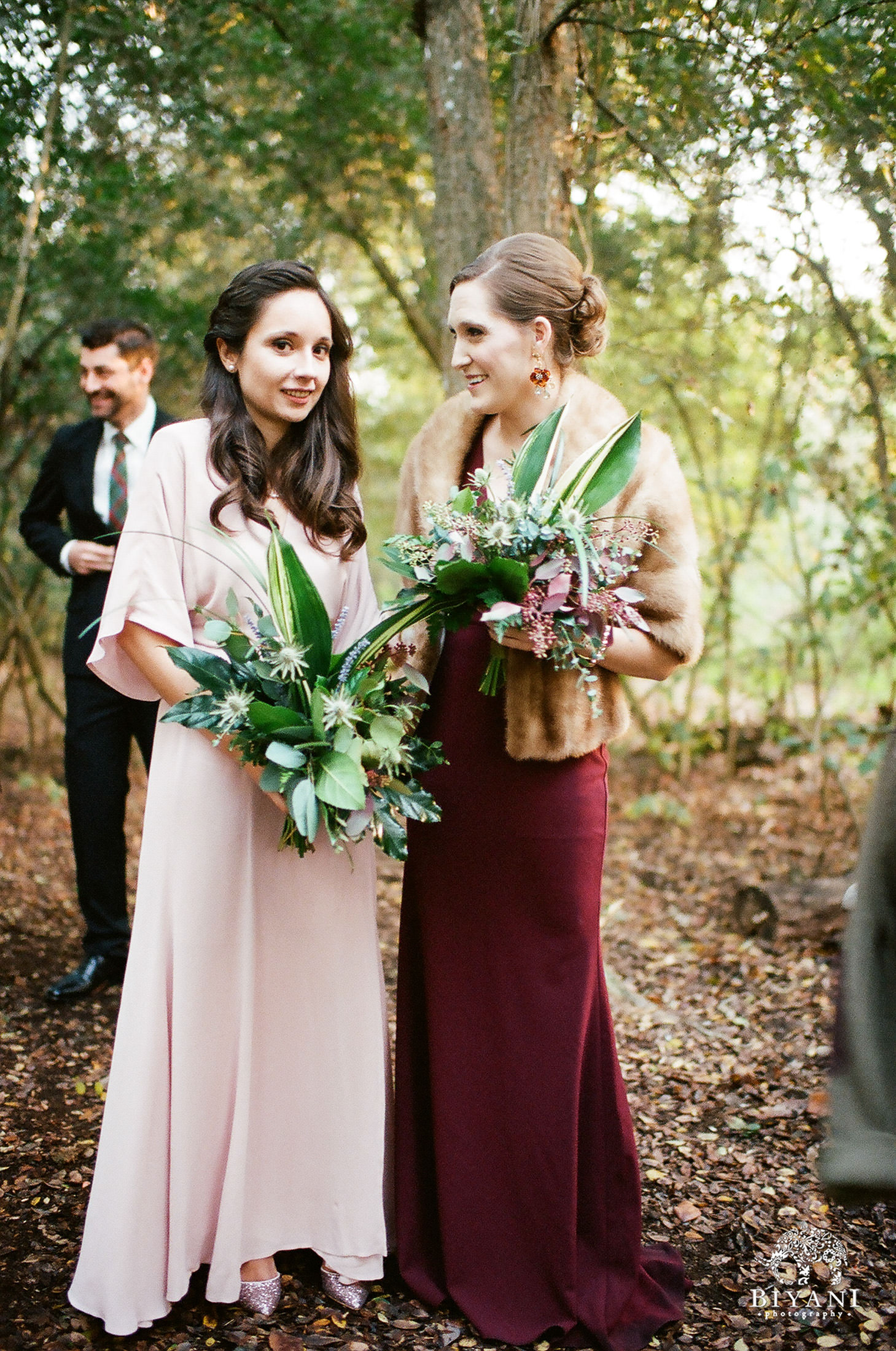 Bridesmaids in the forest