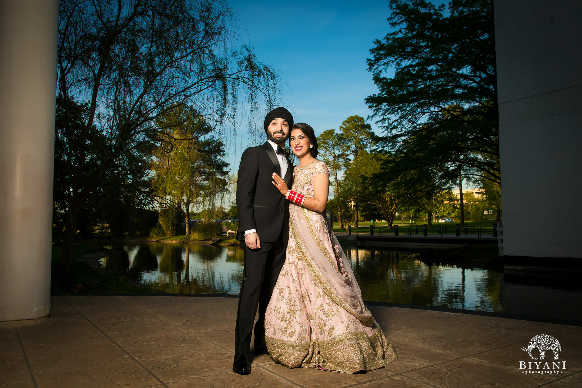 Houston Punjabi Wedding Reception Bride and Groom