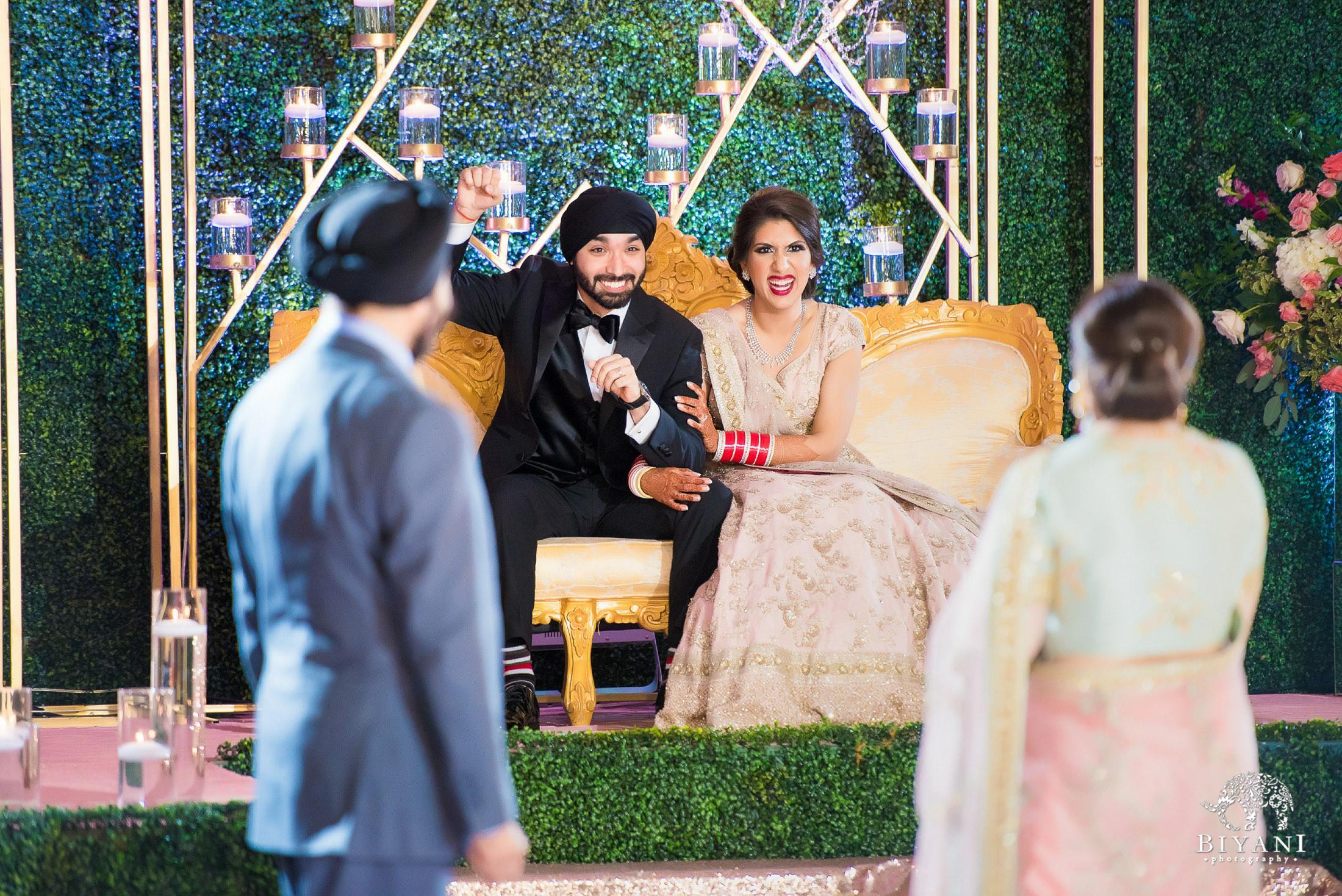 Houston Punjabi Wedding Reception Bride and Groom