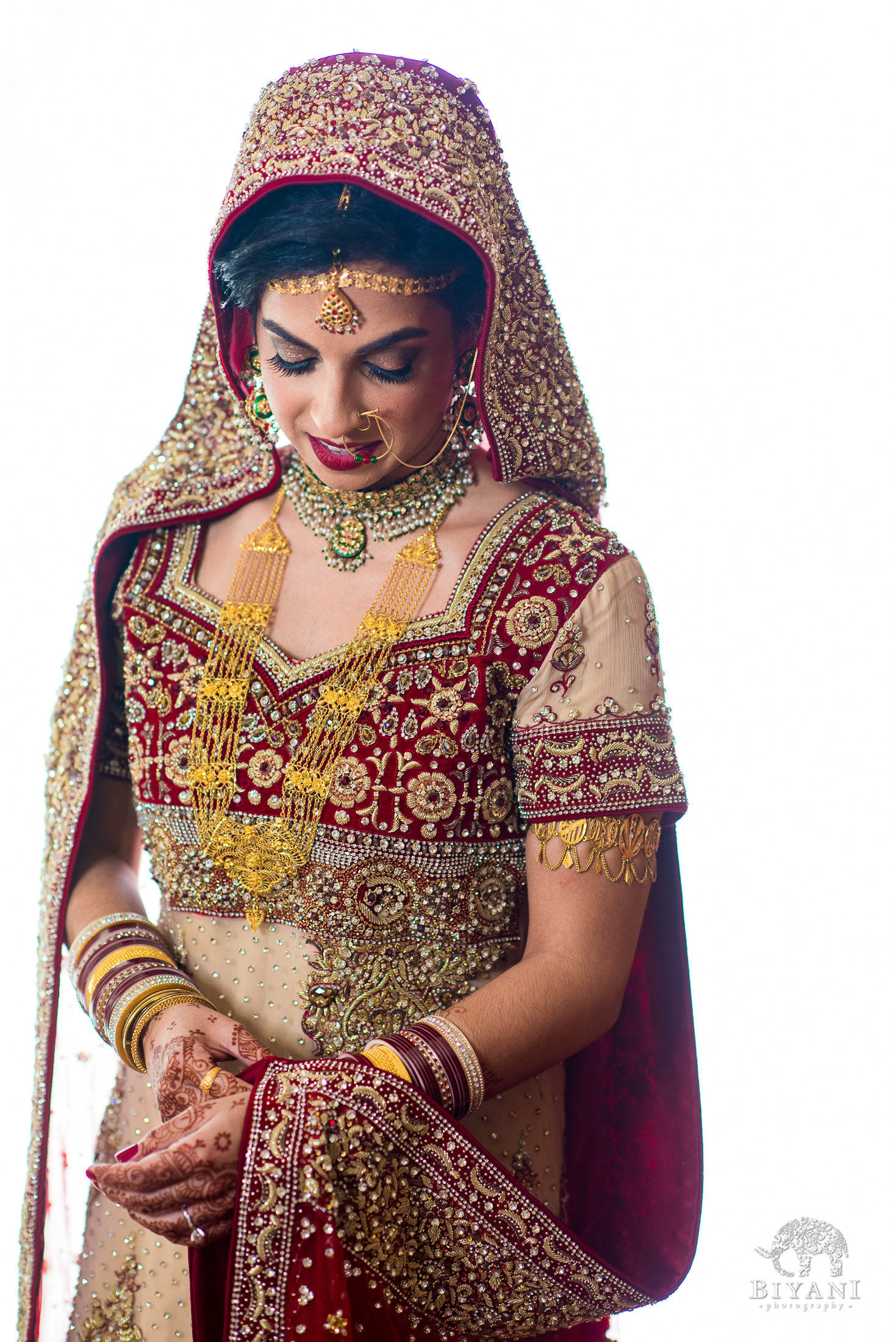 Indian Fusion Bride in Wedding Ceremony Dress