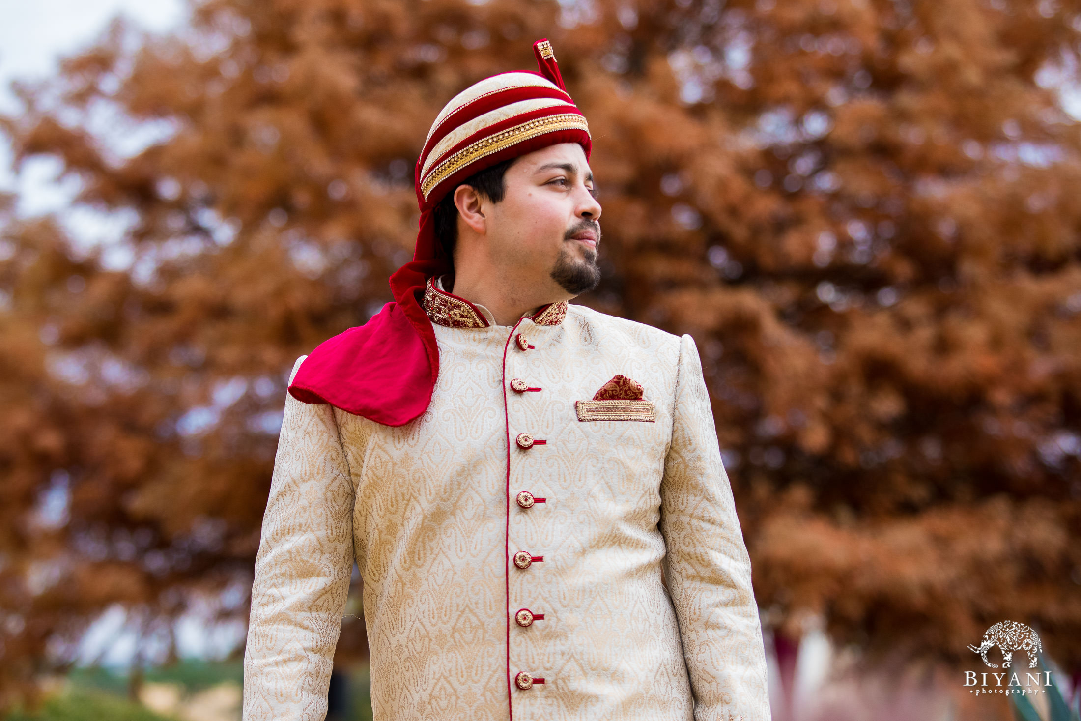 Indian Fusion Groom waiting for his bride to arrive