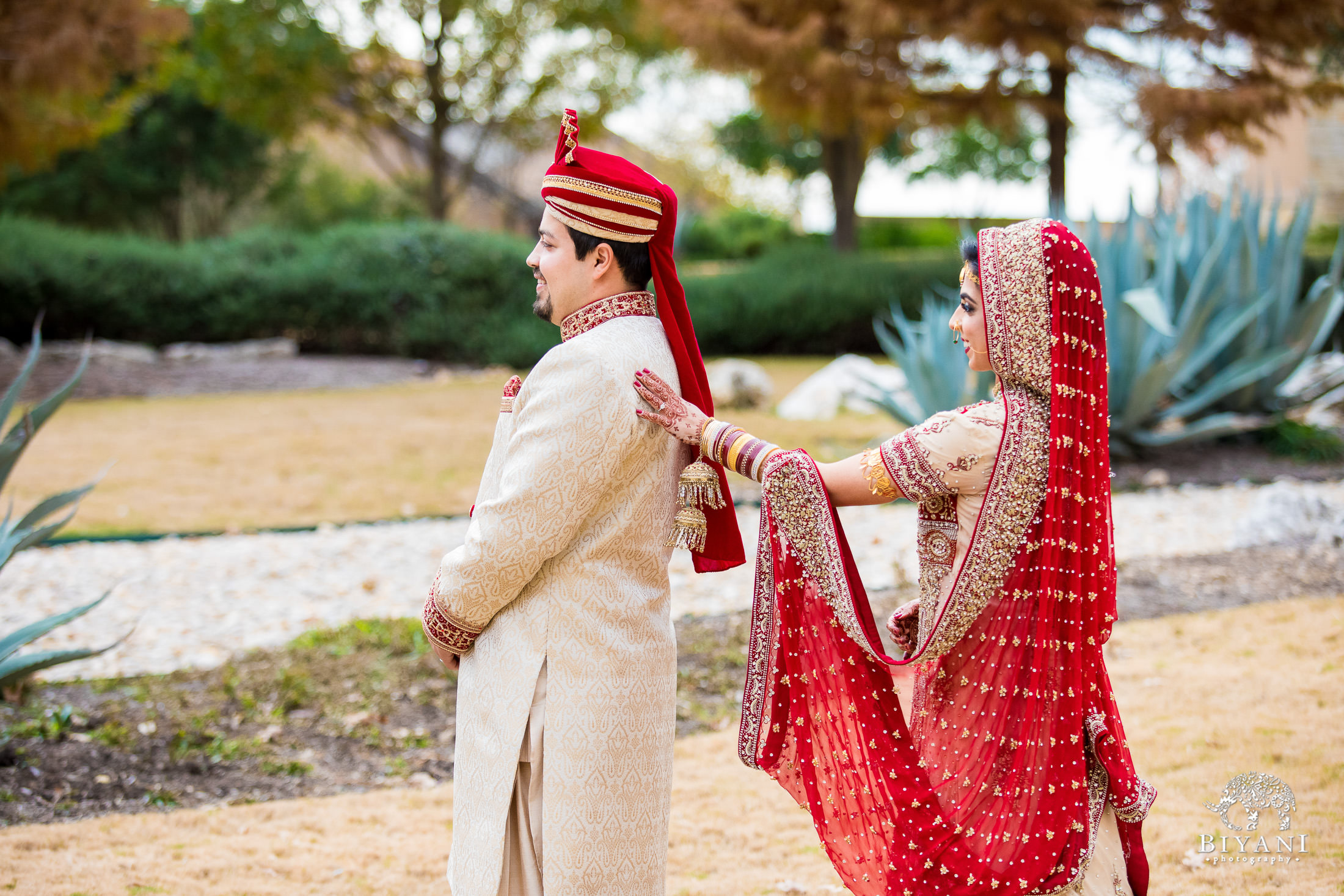 Indian Fusion Bride and Groom first look outdoors in San Antonio, Tx.