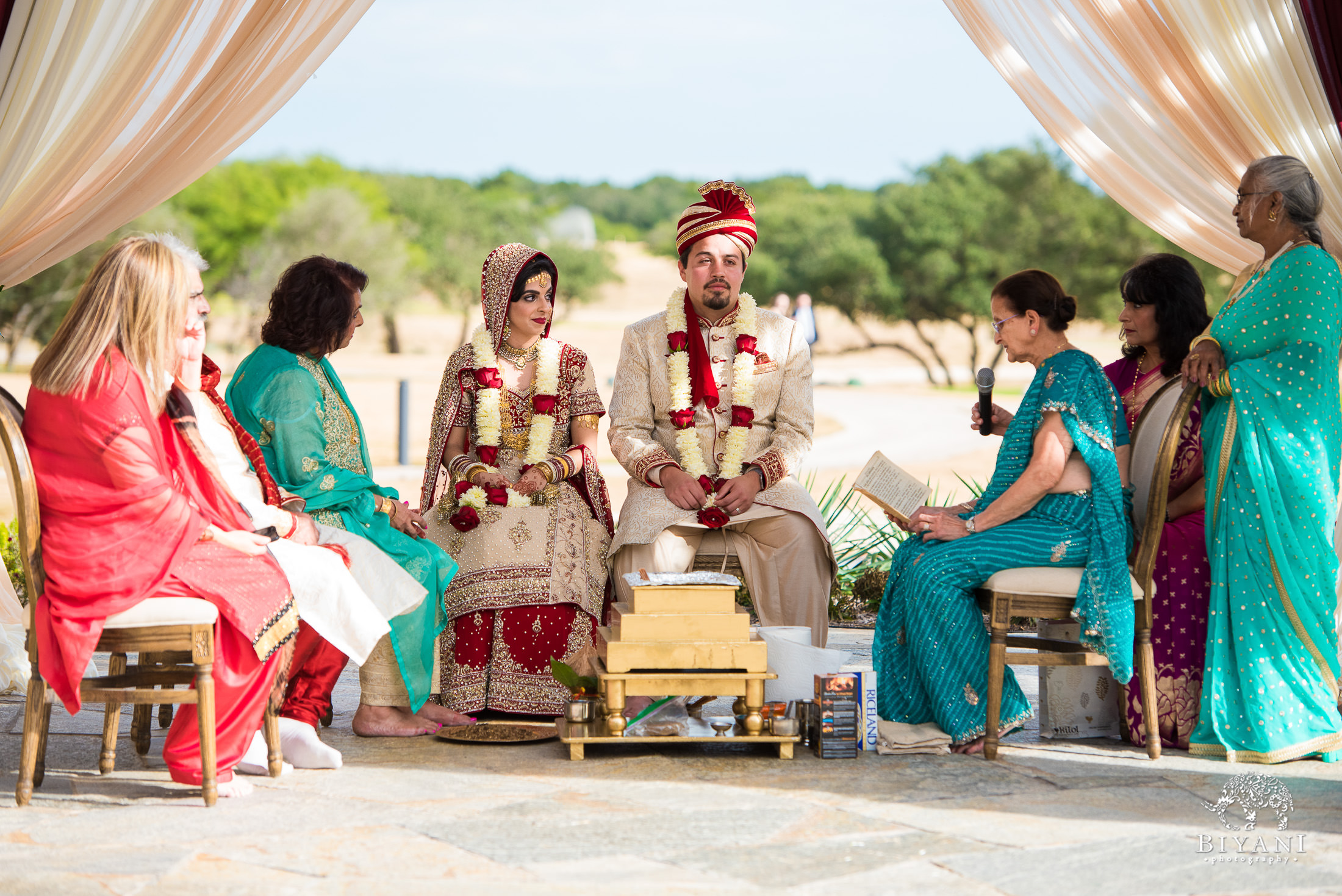 Indian Fusion Wedding ceremony outdoors in San Antonio, Tx.