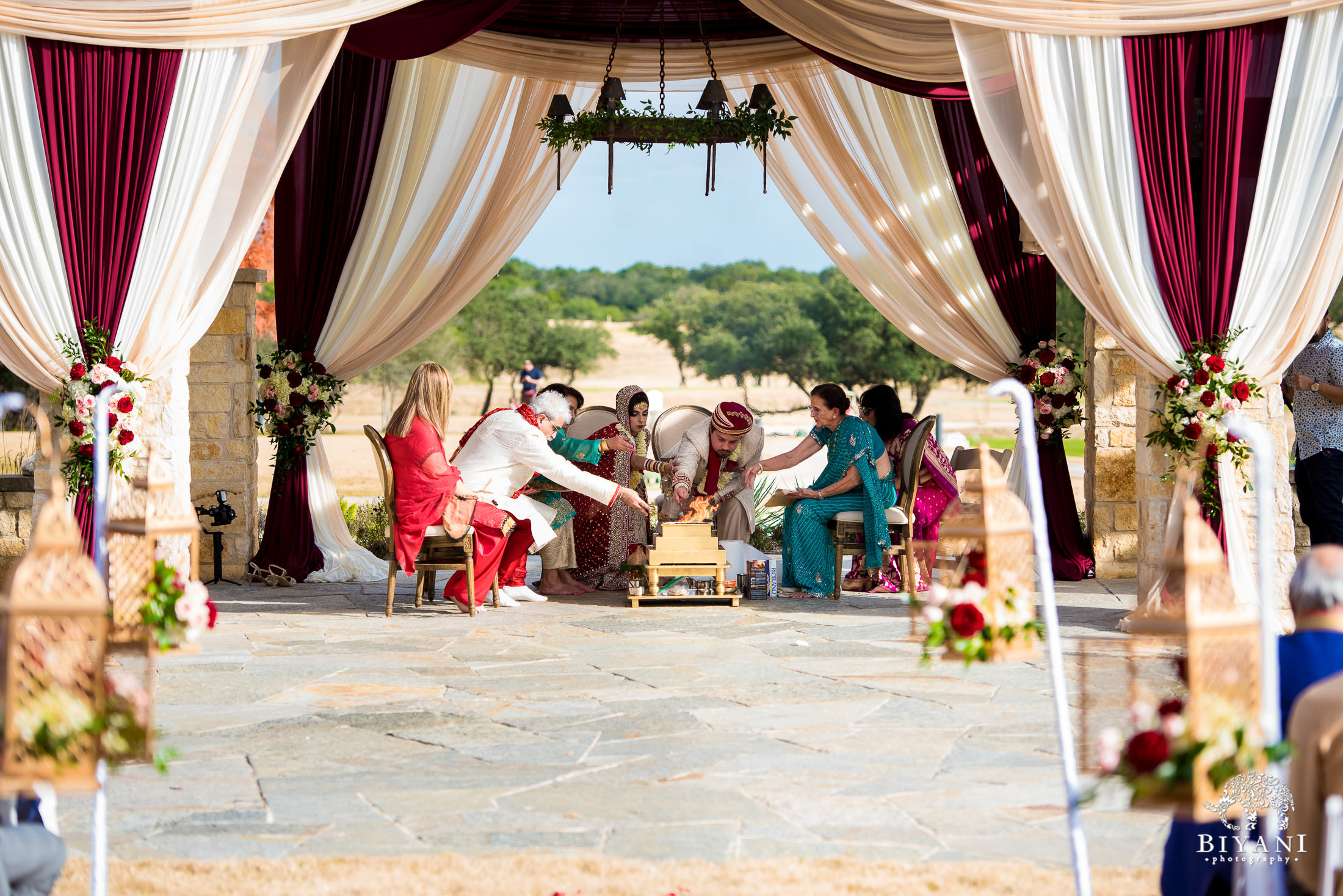 Indian Fusion Wedding ceremony fire outdoors in San Antonio, Tx.