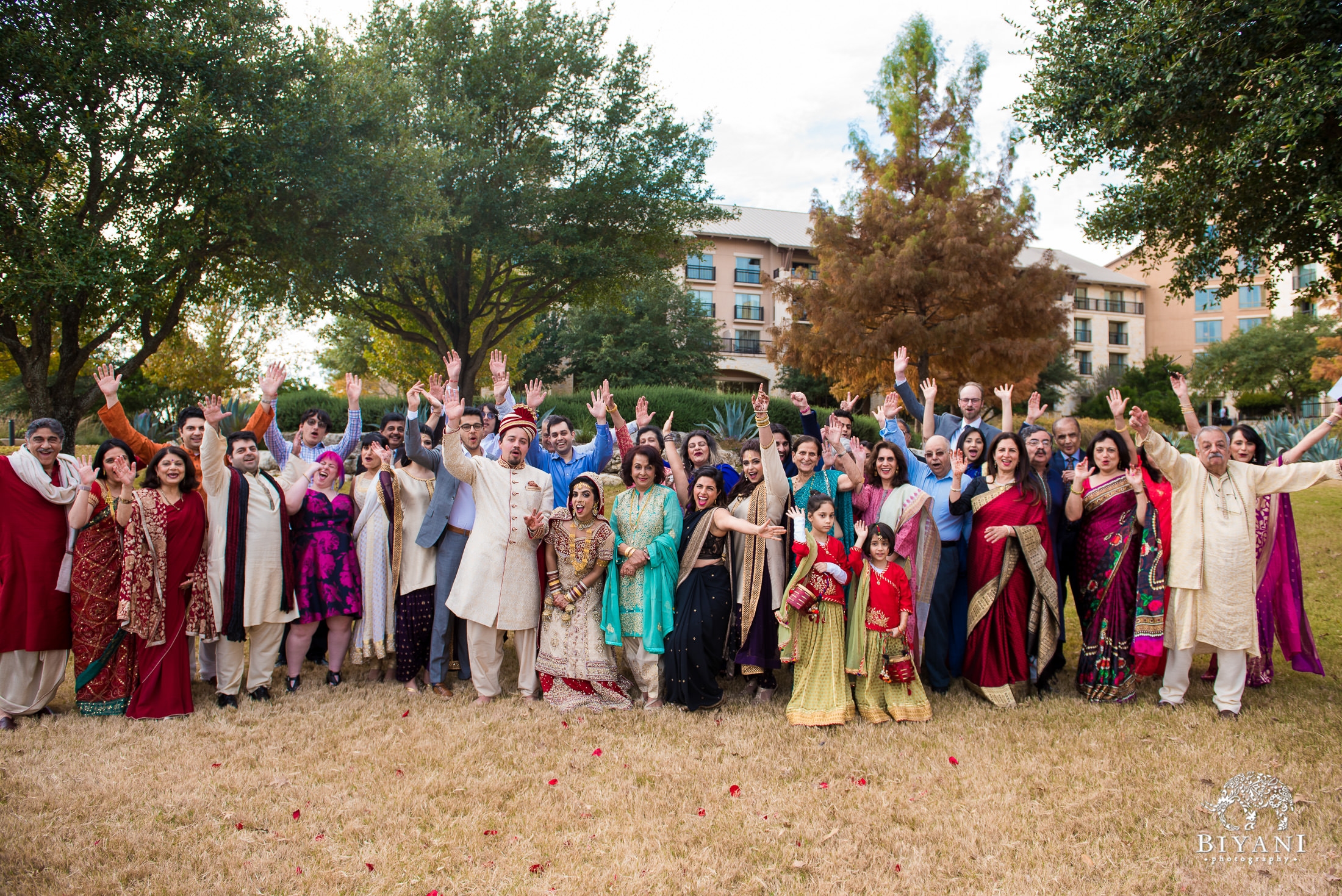 Indian Fusion Wedding Party group photo outdoors